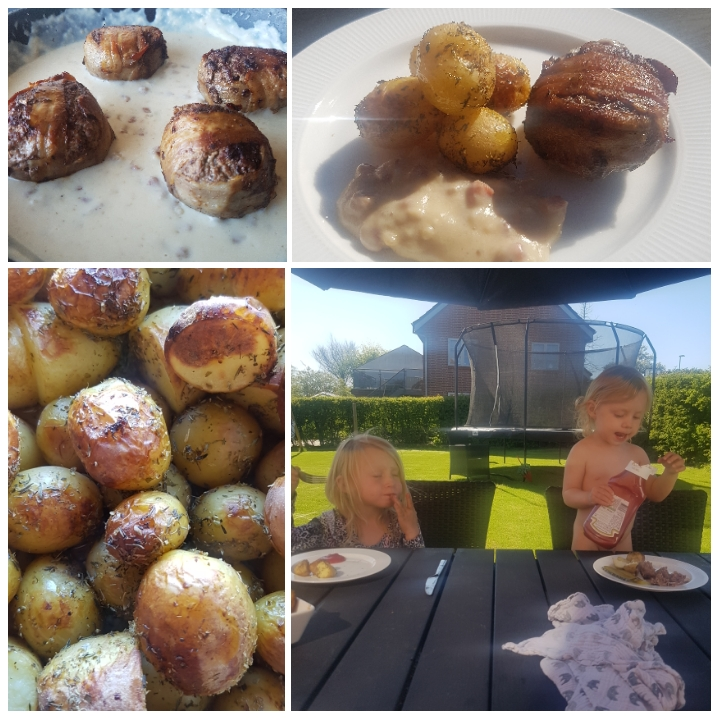 Bøffer i baconsovs og honningglaseret ovnkartofler #hashtagmor