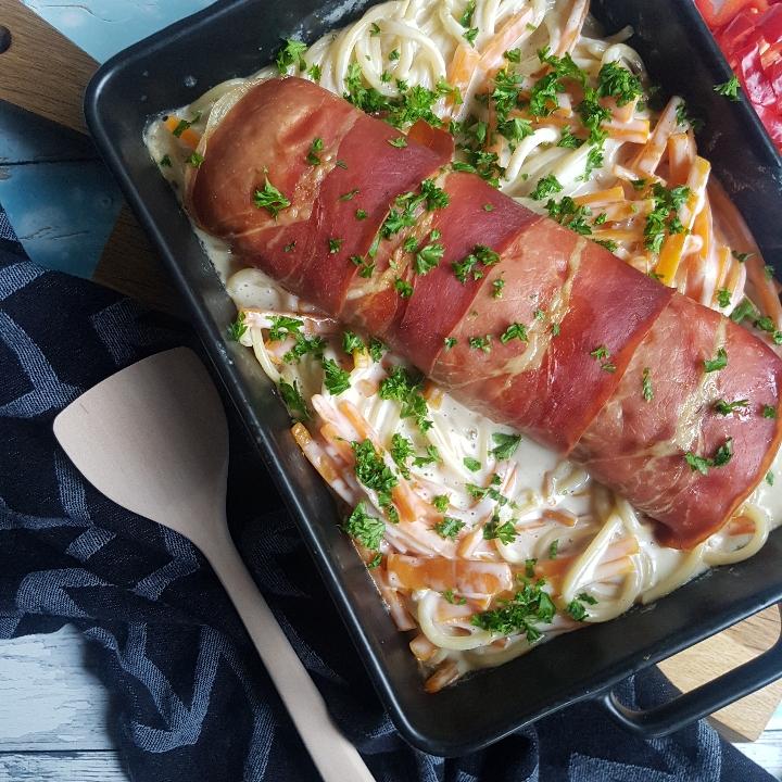 Cremet spaghetti med kylling rulle #hashtagmor