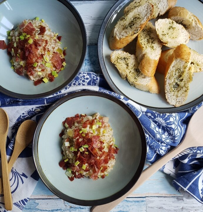 Bacon risotto med porre