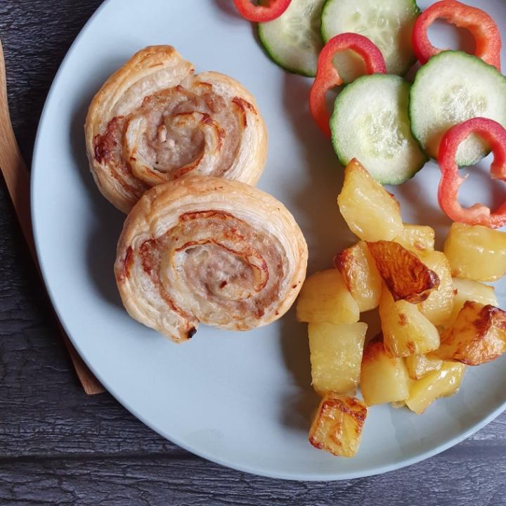 Butterdejssnegle med kartofler og mayonnaise.
