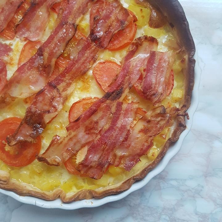 Lækker kartoffel bacon tærte.