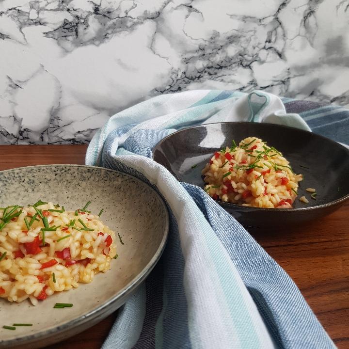Smagfuld risotto med peberfrugt.