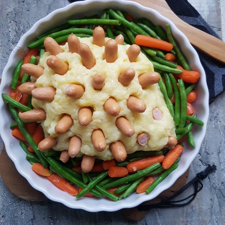 Pindsvin på græsbund. Kartoffelmos i ovn #hashtagmor