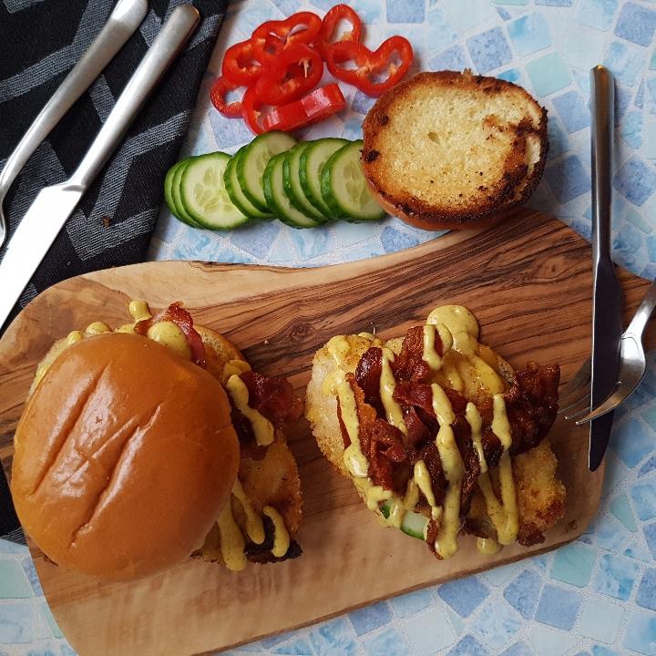 Kyllingburgers med paneret kylling. #hashtagmor