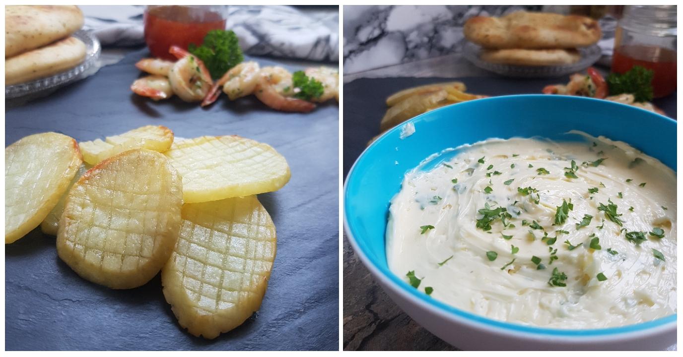Kæmpe hvidløgsmarineret rejer med skøre kartofler og hvidløgsmør. #hashtagmor