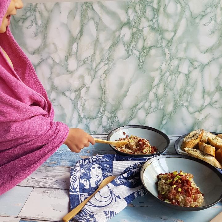 Bacon risotto med porre #hashtagmor