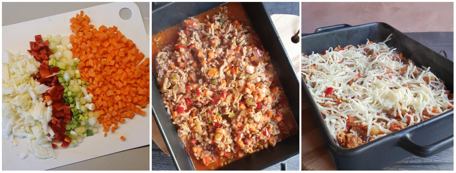 Pandekager med fyld af bagt kødsovs med grøntsager