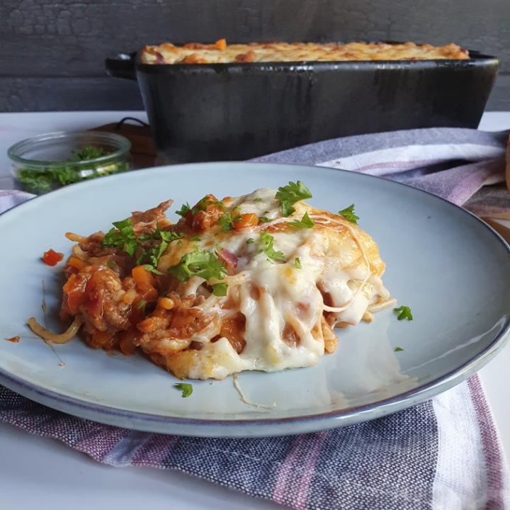 Gratineret spaghetti kødsovs opskrift - en af mine lette spaghetti retter