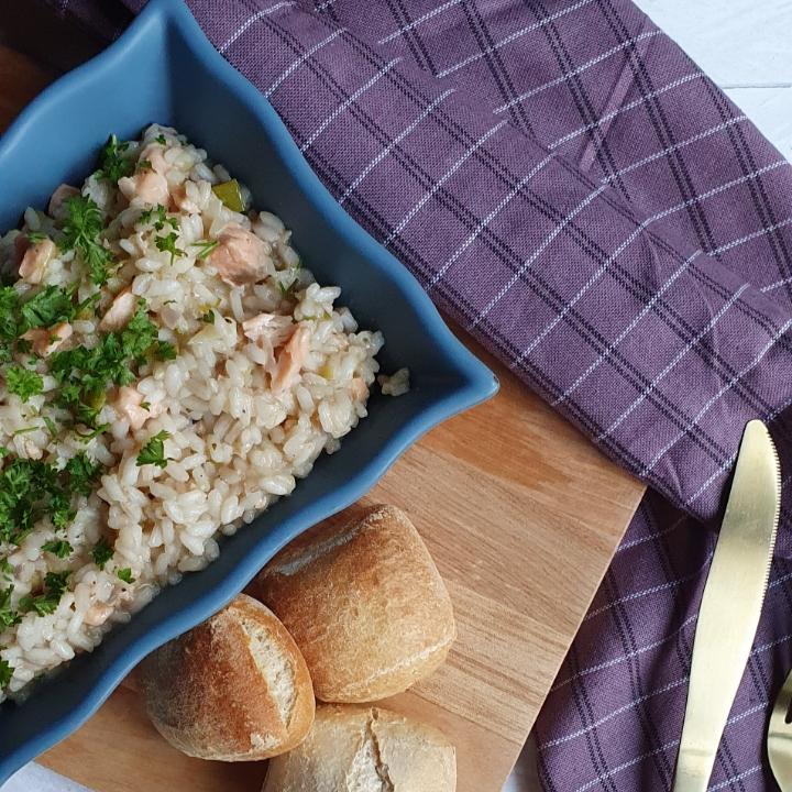 Opskrift på risotto med laks og porre