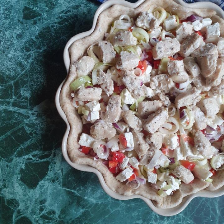 Nem tærte med kylling og fetaost - lækkert tærtefyld med grøntsager