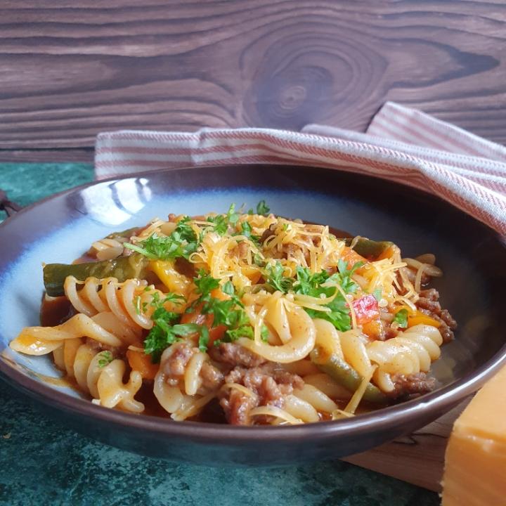 One pot cheesy taco pasta.